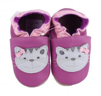 Zvětšit BABICE kožené capáčky - kočka růžová BA-015