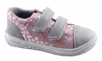 Zvětšit Jonap J-B16/M/V šedá/růžová kytičky, celoroční obuv BAREFOOT