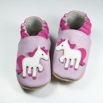 Zvětšit BABICE kožené capáčky - unicorn lilac BA-180