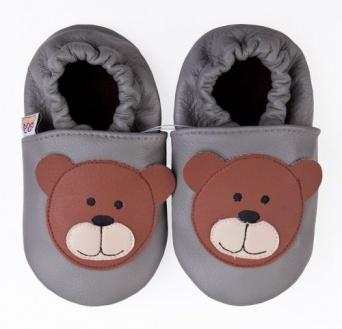 Zvětšit AFELO kožené capáčky - medvídek šedý