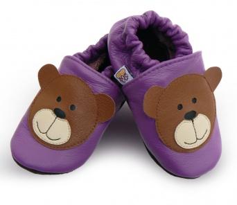 Zvětšit AFELO kožené capáčky - medvídek fialový