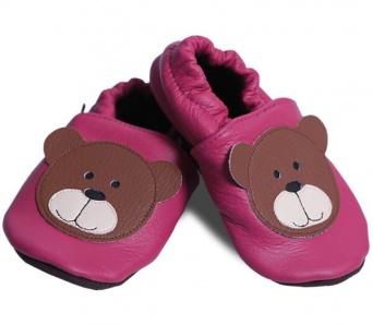 Zvětšit AFELO kožené capáčky - medvídek malinový